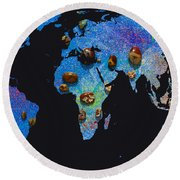 World Map And Sagittarius Constellation Round Beach Towel