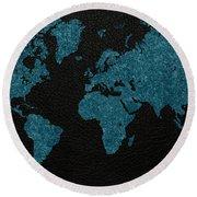 World Map Blue Vintage Fabric On Dark Leather Round Beach Towel