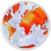 World Map - Citrus Passion - Abstract - Digital Painting 2 Round Beach Towel