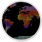 World Map Colourful Dots #2 Round Beach Towel
