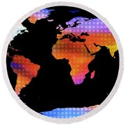World Map Colourful Dots  Round Beach Towel