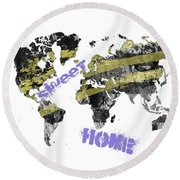 World Map Cool Round Beach Towel