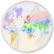 World Map Crumpled Multi-coloured Round Beach Towel