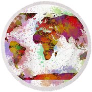 World Map Digital Watercolor Painting Round Beach Towel