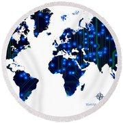 World Map In Blue Lights Round Beach Towel
