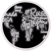 World Map In Text Neon Light Round Beach Towel