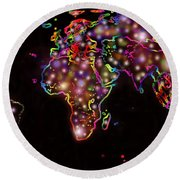 World Map In The Future Round Beach Towel by Augusta Stylianou