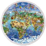 World Map Of World Wonders Round Beach Towel