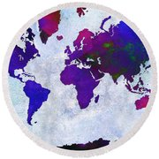 World Map - Purple Flip The Light Of Day - Abstract - Digital Painting 2 Round Beach Towel
