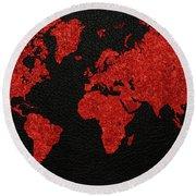 World Map Red Fabric On Dark Leather Round Beach Towel