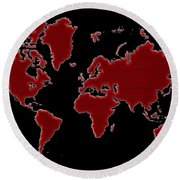 World Map Red Grid Round Beach Towel
