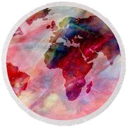 World Map Splash Of Color Round Beach Towel