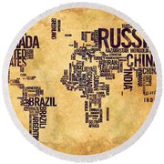 World Map Typography 6 Watercolor Painting Round Beach Towel