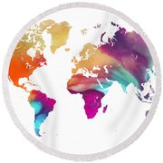 World Map Watercolor Round Beach Towel