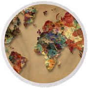 World Map Watercolor Painting 1 Round Beach Towel