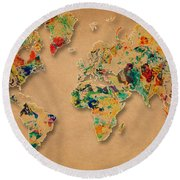 World Map Watercolor Painting 2 Round Beach Towel