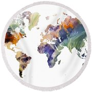 World Map Watercolor Painting Round Beach Towel