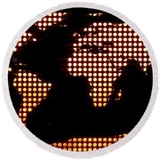 World Map Yellow Dots Round Beach Towel