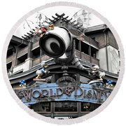 World Of Disney Signage Downtown Disneyland Sc Round Beach Towel