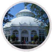 World Of Plants Building At The New York Botanical Gardens Round Beach Towel