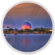 World Showcase Lagoon Sunset Round Beach Towel