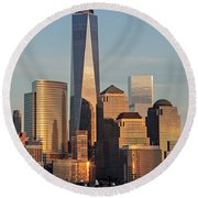 World Trade Center Freedom Tower Nyc Round Beach Towel