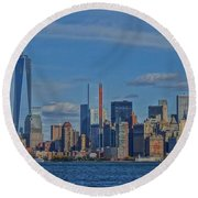 World Trade Center Painting Round Beach Towel by Dan Sproul