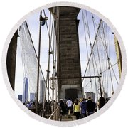World Trade Center Through The Bridge Round Beach Towel