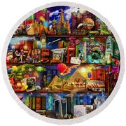 World Travel Book Shelf Round Beach Towel