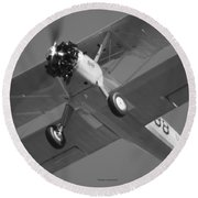 Stearman Trainer Bi Plane Black And White Round Beach Towel