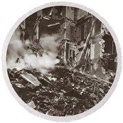 World War I Paris Bombed Round Beach Towel