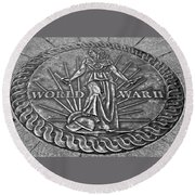 World War II Medallion Bw Round Beach Towel