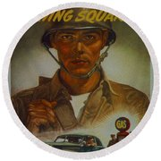 World War II Military Poster Are You Playing Square Round Beach Towel