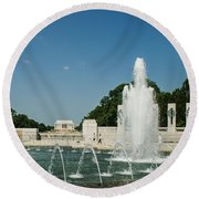 World War II Monument With Lincoln Monument Round Beach Towel