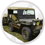 World War Two Army Jeep With Trailer  Round Beach Towel