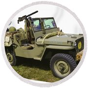World War Two - Willys - Army Jeep  Round Beach Towel