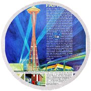 Worlds Fair 1962 Round Beach Towel