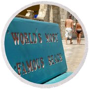 Worlds Most Famous Beach Bench Round Beach Towel