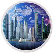 Worlds Tallest Buildings Round Beach Towel
