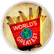 World's Greatest Fries Round Beach Towel