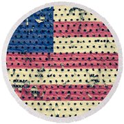 Worn Out American Flag Round Beach Towel