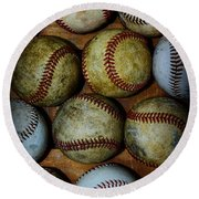 Worn Out Baseballs Round Beach Towel