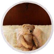 Worn Teddy Bear On Bed Round Beach Towel