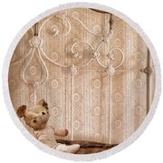 Worn Teddy Bear On Brass Bed Round Beach Towel