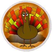 Worried Turkey Illustration Round Beach Towel