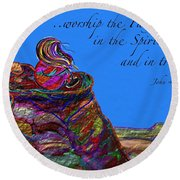 Worship The Father Round Beach Towel