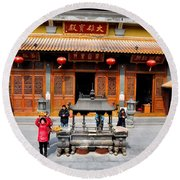 Worshipers In Urn Courtyard Of Chinese Temple Shanghai China Round Beach Towel