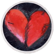 Wounded Heart Round Beach Towel