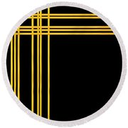 Woven 3d Look Golden Bars Abstract Round Beach Towel