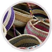Woven Baskets Round Beach Towel